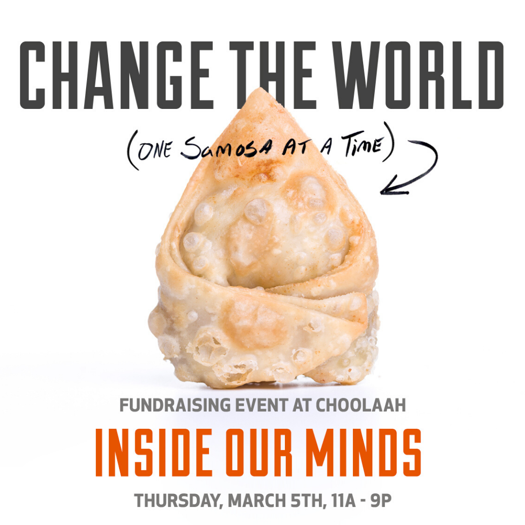 """Image of a giant crispy samosa with the text """"Change The World (one samosa at a time)"""""""